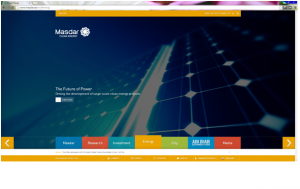 """Sitio web oficial del proyecto Masdar en su apartado """"Energía"""""""