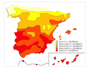 Mapa irradiación solar en España