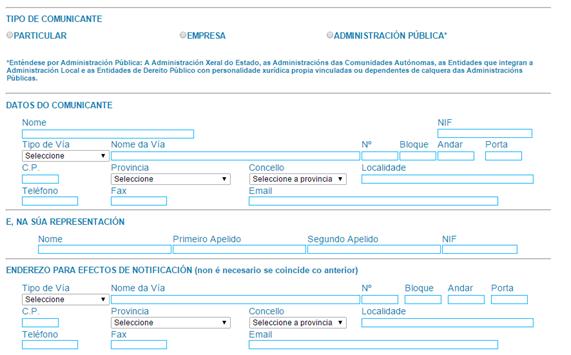 registro certificado energético galicia datos del comunicante