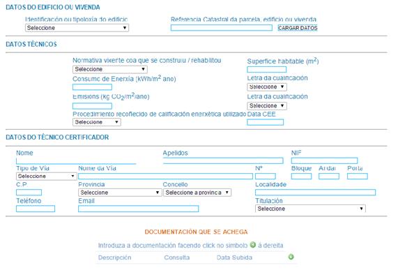 registro certificado energético galicia datos técnicos